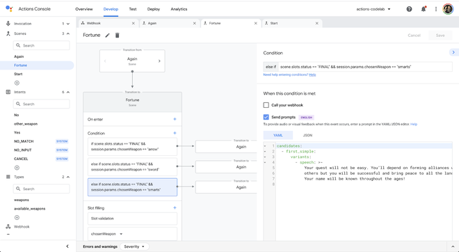 Actions Builder Console