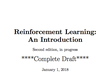 日程変更 Reinforcement Learning Meetup #06